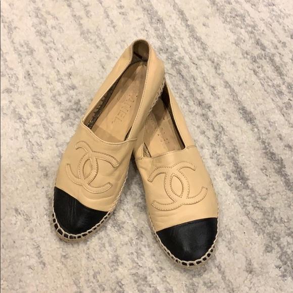 CHANEL Shoes   Beigeblack Lambskin